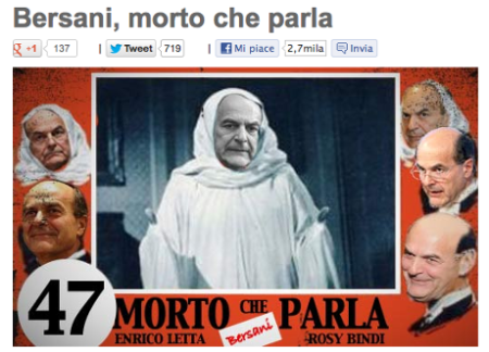 Ital election Bersani death shroud Grillo