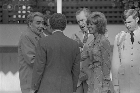 Brezhnev and Jill St. John at Nixon Pool Party