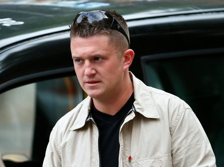 English Defence League leader Tommy Robinson arrives at Westminster Magistrates' Court in London